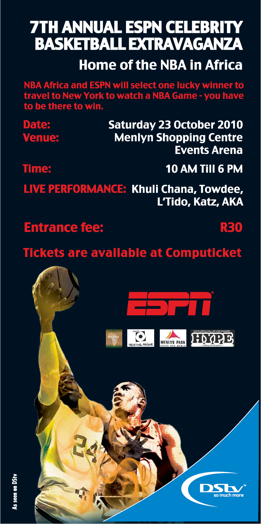 With the espn celebrity event happening this weekend in tshwane at the